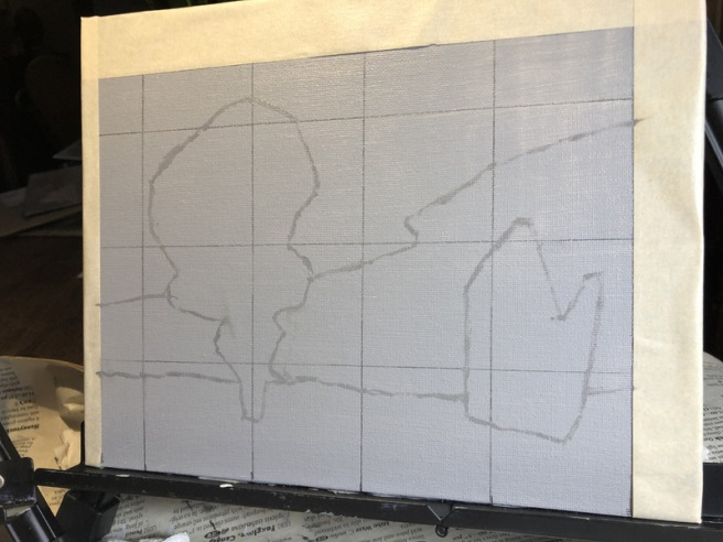canvas with finished drawing